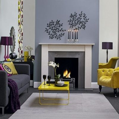 Modern Fireplace And Grey Accent Wall For The Home