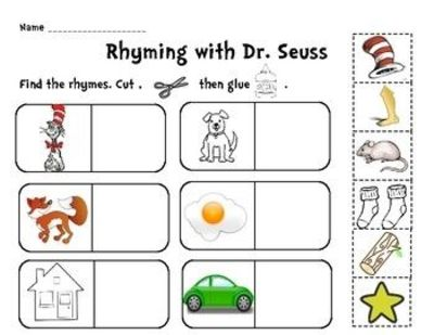 Fun And Quick Rhyming With Dr Seuss Cut Paste Activity Use As