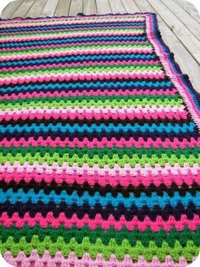 Granny Stripe Blanket Crochet Granny Stripe Giant Rainb