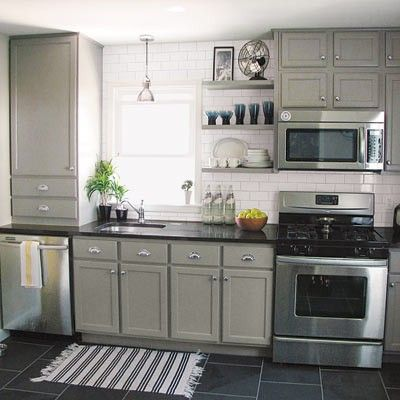 Kitchen gray cabinets i love this beige gray color and for Kitchen upgrades