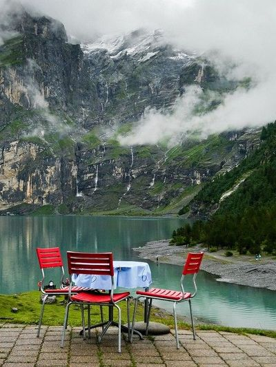 Gorgeous place to dine at Oeschinensee in the Bernese Oberland, Switzerland.