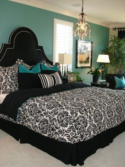Turquoise wall with black white for the bedroom juxtapost - Black and turquoise bedroom ...