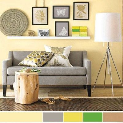 Pale yellow walls living room and hallways for the for Pale yellow living room walls