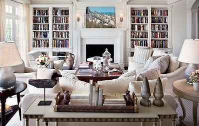 Love these built in shelves around fireplace and EVERYTHING about this living room!