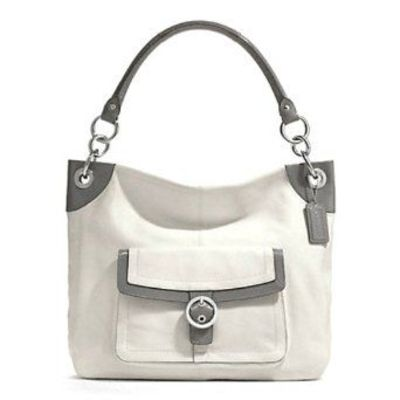 coach gray bag ezak  Grey And White Coach Purse
