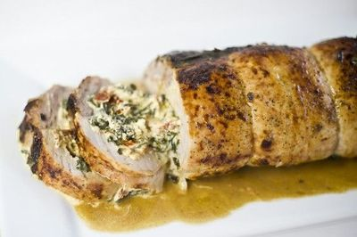 Spinach and goat cheese stuffed pork tenderloin