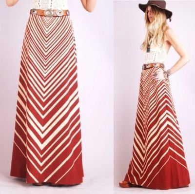 Chevron Stripe Maxi Skirt - Skirts