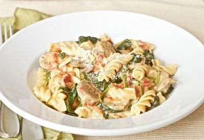 Penne with chicken sausage and spinach