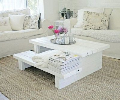 Pallet coffee table for the home juxtapost for Table exterieur palette