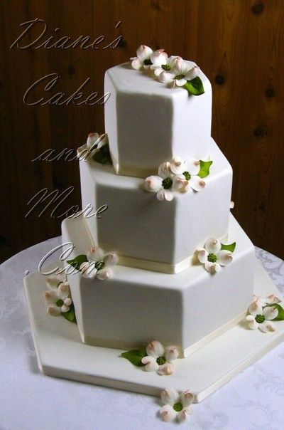 Hexagon Dogwood Wedding Cake by Diane's Cakes