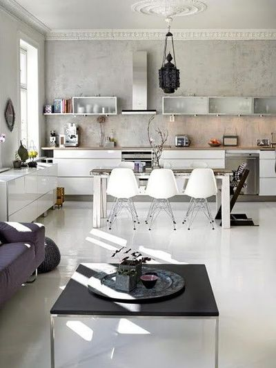 kitchen chairs, light, white, glass, concrete wall paint