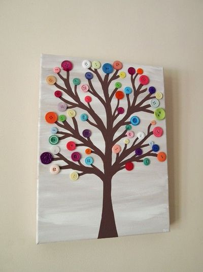 Colorful tree button crafts kids preschool items juxtapost for Button crafts for adults