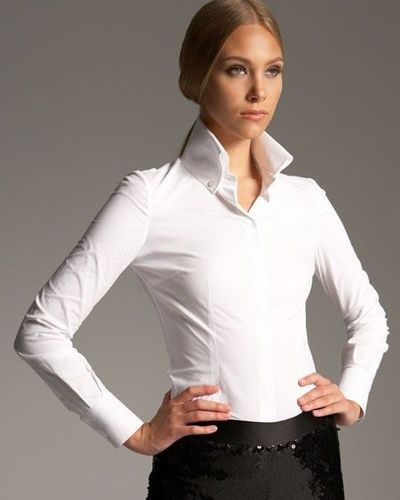 high collar 3 button shirts white blouse womens