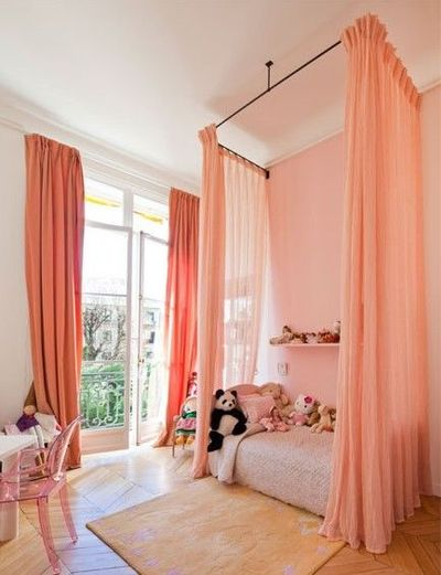 Ceiling mounted canopy bed