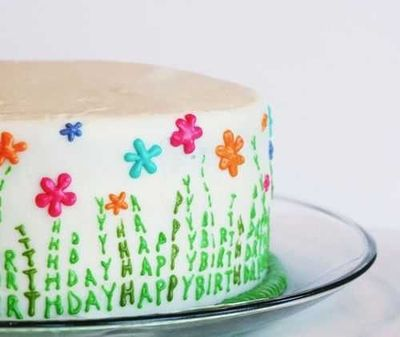 Super awesome spring Happy Birthday cake.