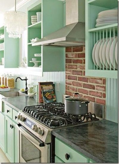 pale mint green & open cabinets