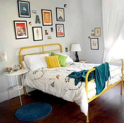 Yellow Painted Bed Frame This Would Be Fun To Find Paint For The Guest