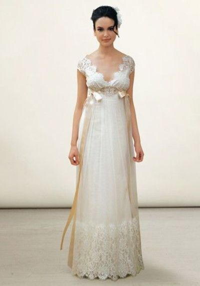 Vintage Ivory Lace Wedding Gown With Taupe Silk Ribbons / gowns ...