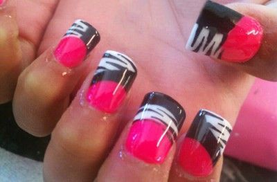 Hot pink and black nails design conceptsideas juxtapost hot pink and black nails prinsesfo Choice Image