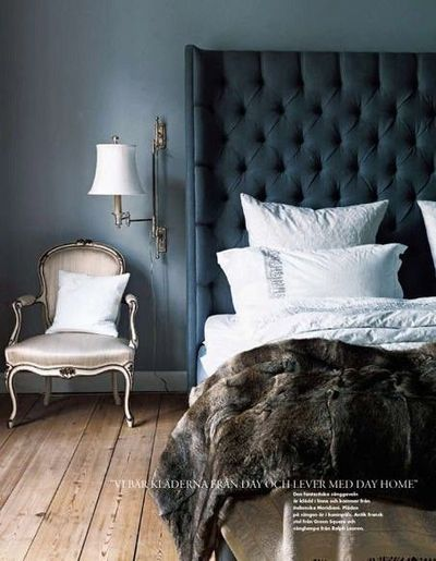 Smokey Blue Bedroom: Love The Bare Wood Floor With The Smokey Blue Walls And