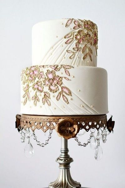 Pink White And Gold Wedding Cake With Embroidered Effect Wedding