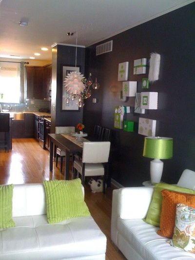 #grey, #green, #orange Living Room Dining Room Part 59