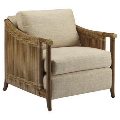 chair.Utilizing two of McGuire's signature materials, rattan and rawhide, the Jolie Lounge Chair bridges the classic McGuire design aesthetic with a modern execution. Thick strips of rawhide are tightly wrapped around the softly curved rattan sides,...