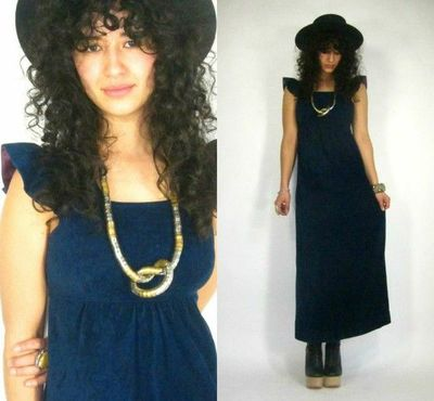 Vintage 60s NAVY Blue FLUTTER SLV Hippie EMPIRE WAIST Smocked Jumper MAXI Dress BOHO