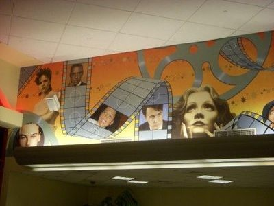 movie theater mural with filmstrip
