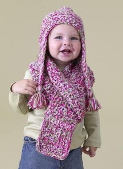Crochet Patterns For Scarf And Hat : Free Crochet Pattern: Speed Hook Earflap Hat and Scarf Set ...