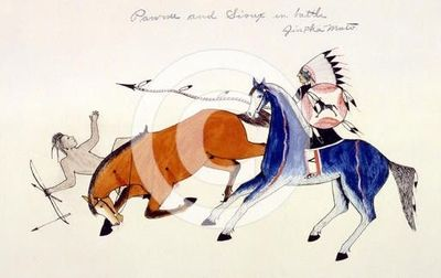 Unhorsing of a Pawnee warrior by Dakota Sioux warrior Zintka Mato (Dog Bear), c1889-1927. Artist: Kills Two