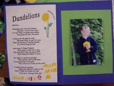 Dandelion poem for mother's day