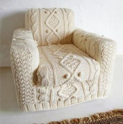 """DIY Afghan Knit Chair upholstery gone """"granny chic"""