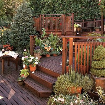 Deck building deck building steep slope for Front garden decking ideas