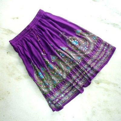 Gypsy Skirt: Boho Indian Mini Skirt, Eggplant Purple Beach Cover Up