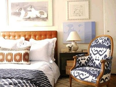 Navy And Tan Ikat Room