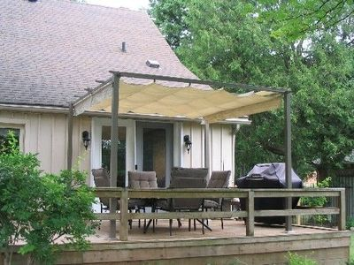 Adding On To An Existing Deck http://www.juxtapost.com/site/permlink/8ef5eea0-56e8-11e1-b805-bd76541456c1/post/can_add_shade_structure_like_this_to_existing_deck/