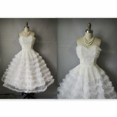 1950s Vintage Wedding Dresses on 50 S Wedding Dress    Vintage 1950 S White Tulle Lac      Gowns