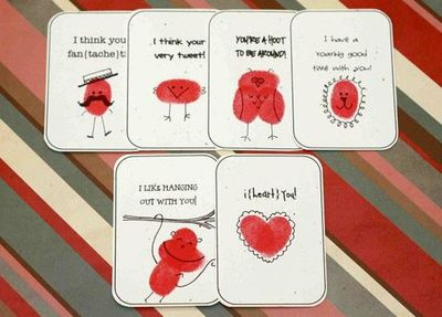 Cute homemade Valentine's cards using fingerprints. #valentines #printable