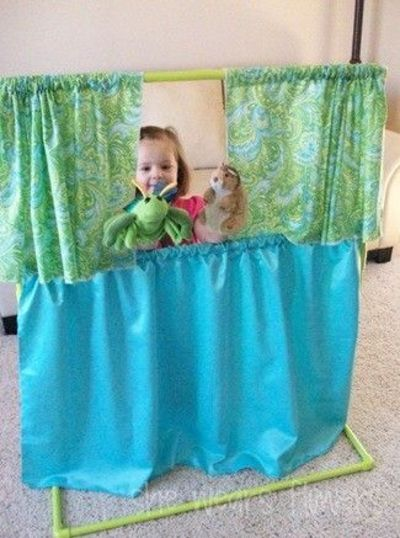 DIY puppet theaters using PVC pipes and fabric