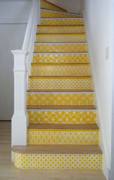 Our Moroccan stencils on stair risers in a sunny yellow. http://bit.ly/yI7Ff4 Carol Leonesio was inspired by the black/white stenciled stairs in this post. Spreading the stencil love!