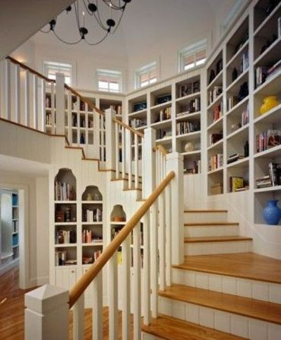 Great Use Of Wall Space On The Staircase...bookshelves!