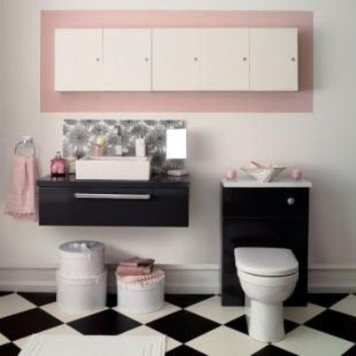 Black White Bathroom With Pink Accents