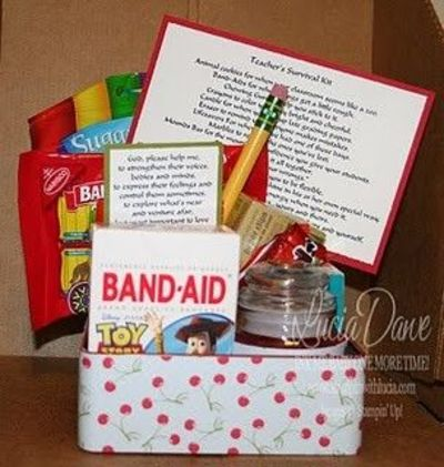 Cute teaching survival kit if I ever have a student teacher! Or for any first year teacher!
