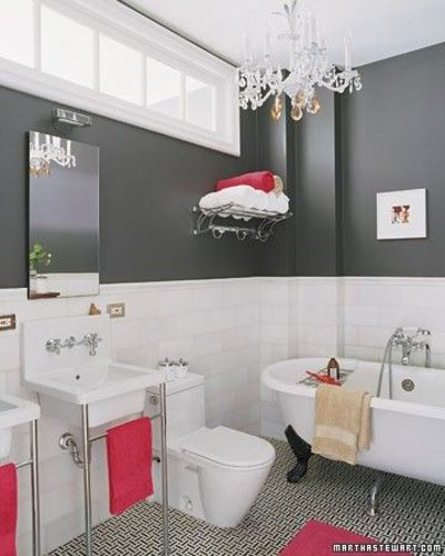 Slate grey and hot pink bath bath ideas juxtapost for Pink and grey bathroom ideas