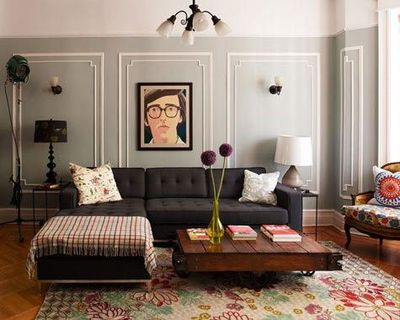 Black Couch, Traditional Detail, Wood Coffee Table #eclectic