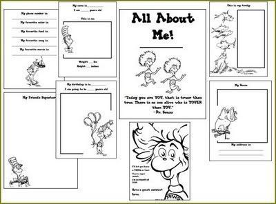 Dr Seuss themed All About Me