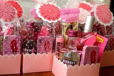 girls night out goodie bags candy mints pink lemonade packets lip gloss - Valentine Goodie Bag Ideas