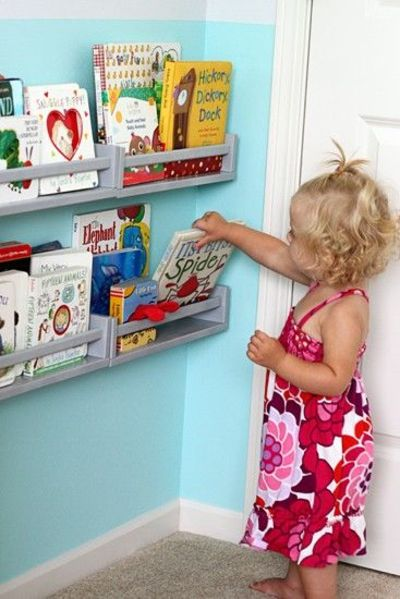 $4 ikea spice rack book shelves. Who knew? / kids rooms - Juxtapost