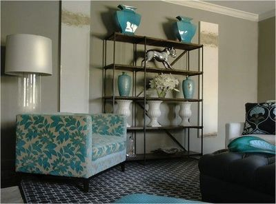turquoise blue & gray living room design with soft gray  / For